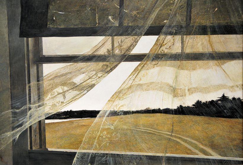 """הציור """"רוח מהים"""" של אנדרו וייאת'. הרוח מנפנפת וילון."""